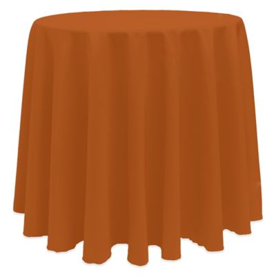 Elegant Basic 120 Inch Round Tablecloth In Burnt Orange