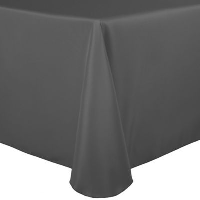 Beau Basic Polyester 90 Inch X 132 Inch Oblong Tablecloth In Charcoal