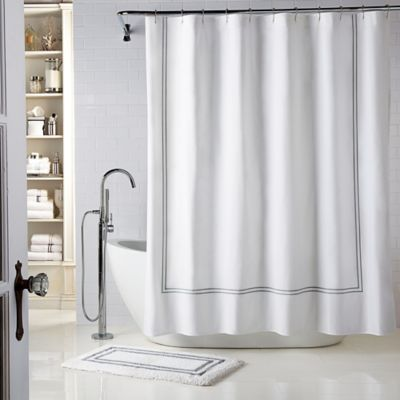 Wamsutta® Baratta Stitch 54-Inch x 78-Inch Stall Shower Curtain in White