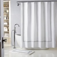 Wamsutta® Baratta Stitch 54-Inch x 78-Inch Stall Shower Curtain in White/Charcoal