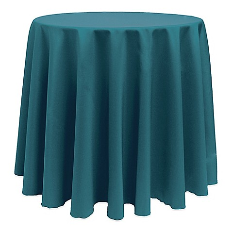 Buy Basic 132 Inch Round Tablecloth In Teal From Bed Bath