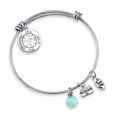 "Shine Silvertone ""It's About the Journey, Not the Destination"" Charm Bangle"