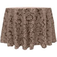Miranda Damask 132-Inch Round Tablecloth in Brown