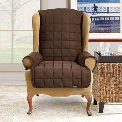 sure fit waterproof wing chair slipcover in taupe - Slip Covers For Chairs