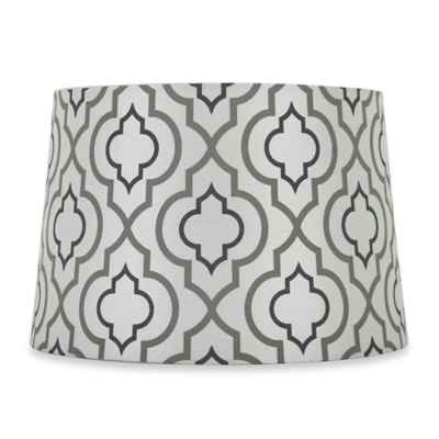 Mix & Match Medium 15-Inch Two-Tone Screen Printed Lamp Shade in Silver/White