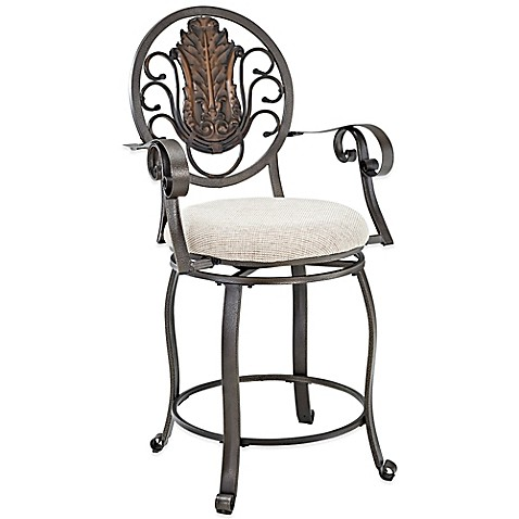 Powell Big Amp Tall Medallion Back Counter Stool With Arms