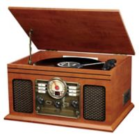 Victoria Wooden 6-in-1 Nostalgic Record Player with Bluetooth® and 3-Speed Turntable