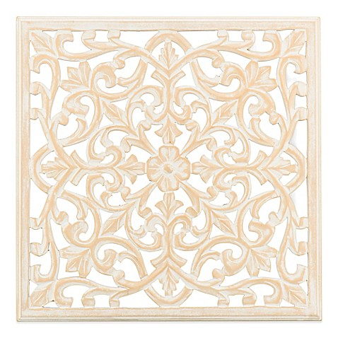 Moroccan Inspired 24-Inch Square Decorative Wood Carved Wall Panel