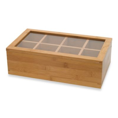 Lipper International 8 Compartment Bamboo Tea Box With Acrylic Cover