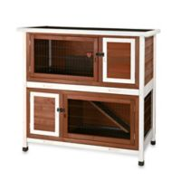 Trixie Natura Small 2-in-1 Flat Roof Small Animal Hutch in Dark Brown/White
