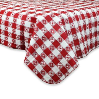 Checkered 60 Inch Round PEVA Tablecloth In Red