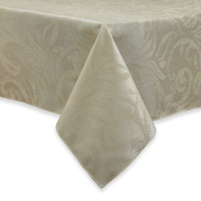 Autumn Scroll Damask 52 Inch X 70 Inch Tablecloth In Ivory