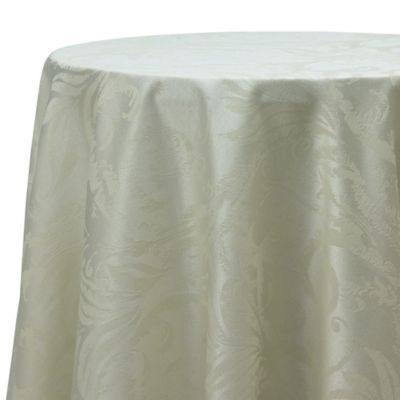 Perfect Autumn Scroll Damask 90 Inch Round Tablecloth In Ivory
