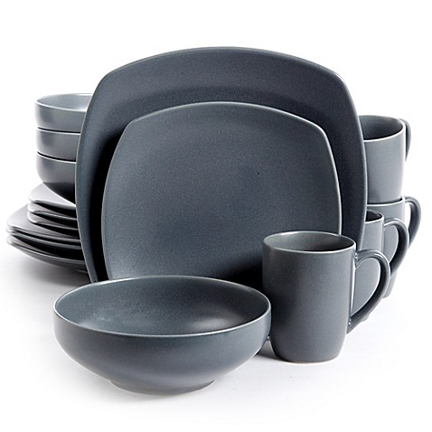 Gibson Paradiso Square Dinnerware Collection In Grey Bed