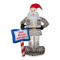 Inflatable Outdoor Military Santa with 'God Bless America' Sign