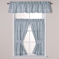Wamsutta® Baratta Stitch Window Valance in Seaglass/White