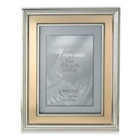 Lawrence Frames 5-Inch x 7-Inch Silver-Plated Picture Frame with Brushed Gold Inner Panel