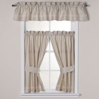 Wamsutta® Baratta Stitch Window Valance in Taupe/Ivory