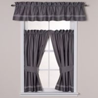 Wamsutta® Baratta Stitch Window Valance in Charcoal/White
