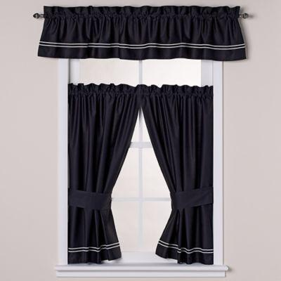wamsutta baratta stitch window valance in blackwhite