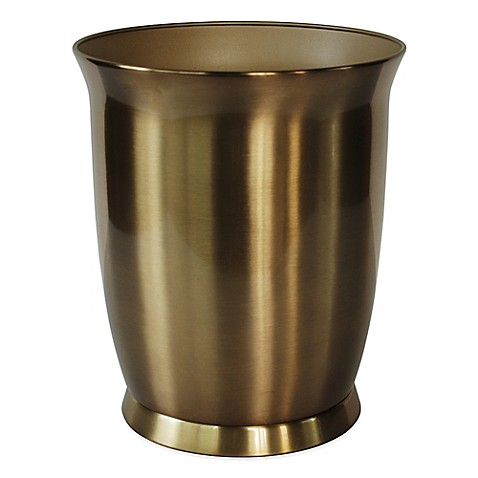 Buy saxony gold waste basket from bed bath beyond for Gold bathroom wastebasket