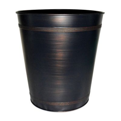 Bronze Bathroom Trash Can. Beaded Metallic Wastebasket In Oil Rubbed Bronze