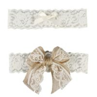 Ivy Lane Design Country Romance Small Bridal Garter Set in Ivory