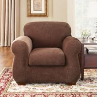 Sure Fit® Stretch Pique 3-Piece Chair Slipcover in Chocolate