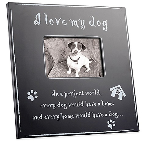 Large Black Wood I Love My Dog 4 Inch X 6 Inch Picture