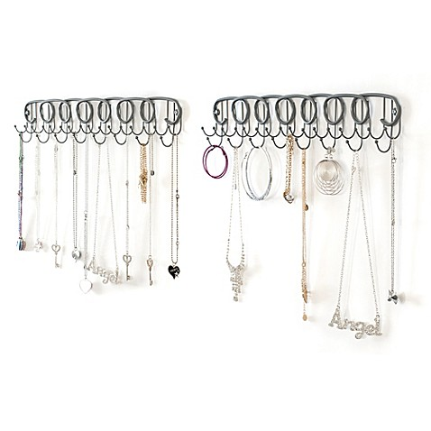 Wall mount jewelry organizers set of 2 bed bath beyond for Bathroom jewelry holder