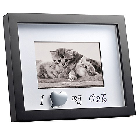 Black Matted Shadowbox I Love My Cat 4 Inch X 6 Inch Frame Bed