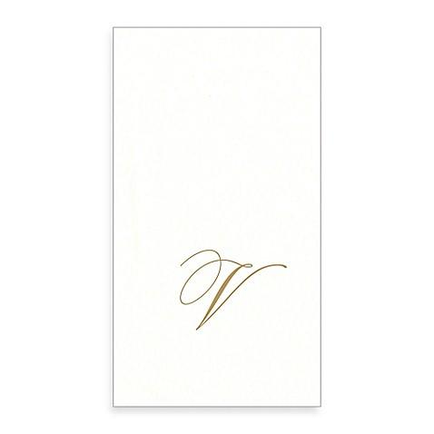 Caspari monogram letter v paper linen guest towels 24 for 24 cardboard letters