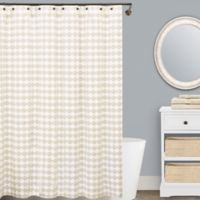 Lamont Home™ Finley 72-Inch x 96-Inch Cotton Shower Curtain in Beige/White