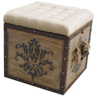 Pulaski Harrison Damask Crate Storage Ottoman in Natural - Buy Storage Ottoman Furniture From Bed Bath & Beyond
