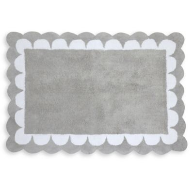 Gray And White Bath Rug Home Decor