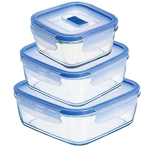 Luminarc pure box active square container with lid bed for Bathroom containers with lids