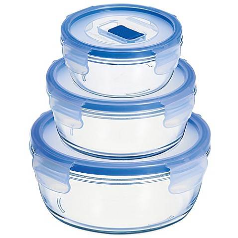 Luminarc pure box active round container with lid bed for Bathroom containers with lids