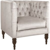 Skyline Furniture Tufted Arm Chair in Mystere Dove