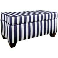 Skyline Furniture Fashion Storage Bench in Canopy Stripe Blue/White