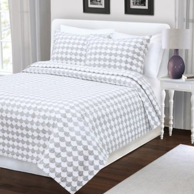 finley king coverlet in greywhite - Matelasse Bedding