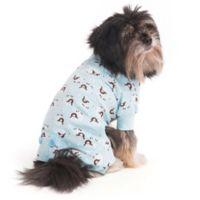 Extra-Small Lamb Print Pet Pajamas in Blue