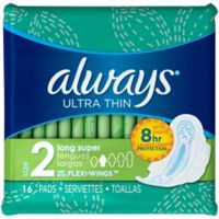 Always Ultra Thin 16-Count Long Super Pads with Wings