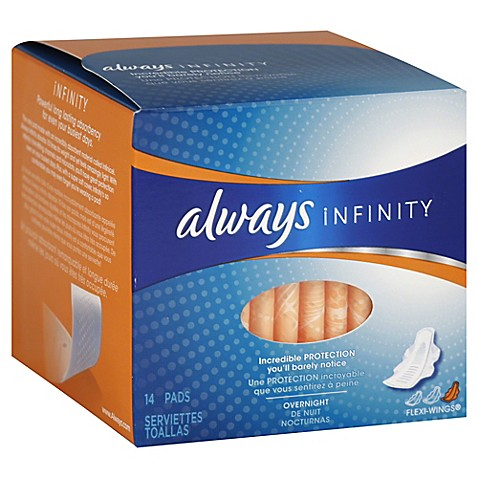 Always Infinity 14 Count Overnight Pads With Wings Bed
