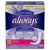 Always Dri-Liners Plus with OdorLock 60-Count Extra Long Pantiliners