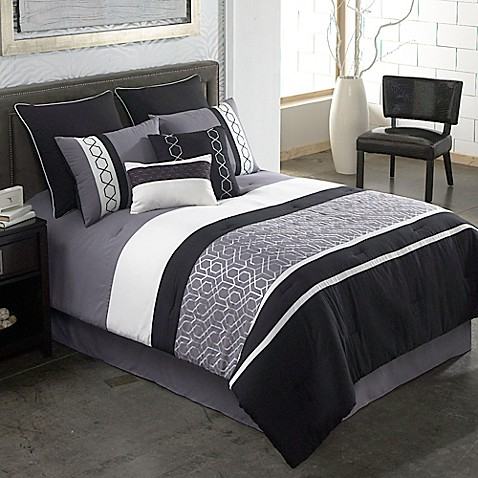 Covington 8 piece comforter set in grey black bed bath - Bed bath and beyond bedroom furniture ...