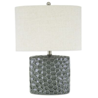 Arianna Oval Ceramic Table Lamp In Grey With Cream Shade