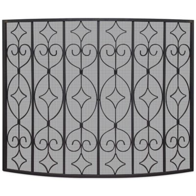 UniFlame Single Panel Curved Ornate Fireplace Screen in Black - Buy Screens Fireplace From Bed Bath & Beyond