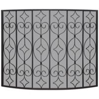 UniFlame Single Panel Curved Ornate Fireplace Screen in Black
