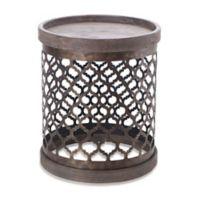 Intelligent Design Cirque Quatrefoil Metal Drum Table in Grey