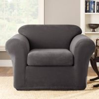 Sure Fit® Stretch Metro 2-Piece Chair Slipcover in Grey